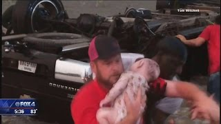 Parents, children rescued from flipped car after tornado