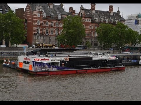 Hop-on-Hop-Off Boat Tour With City Cruises Along Thames River ,London ,UK In June 2016