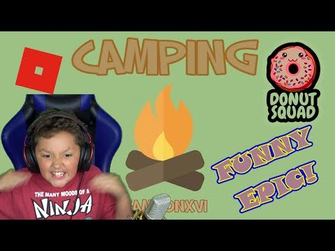 ROBLOX FUNNY CAMPING With Fans DONUT SQUAD W/ MINETHEJ KID GAMER FAMILY FRIENDLY Full Of Surprises!!