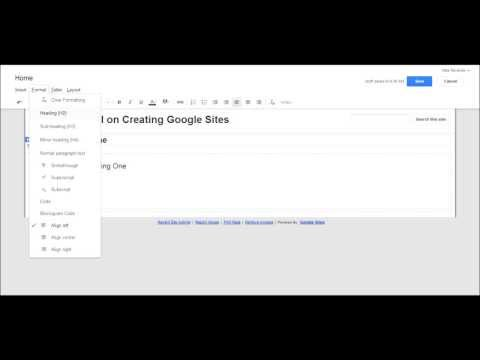 Basic Editing Features of Google Sites - Sites Tutorial 2 of 5