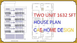 Two Unit 1632 Sq Ft House Plan With Five Storied Front Elevation