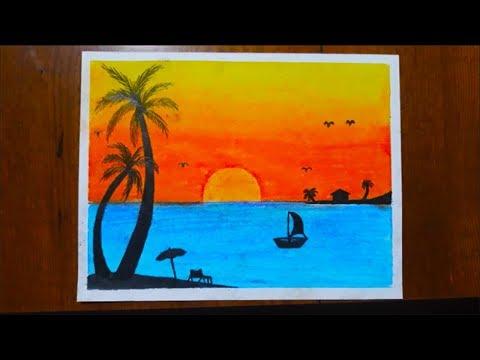 Download Pastel Boya Manzara çizimi Pastel Deniz Manzarası çalışması