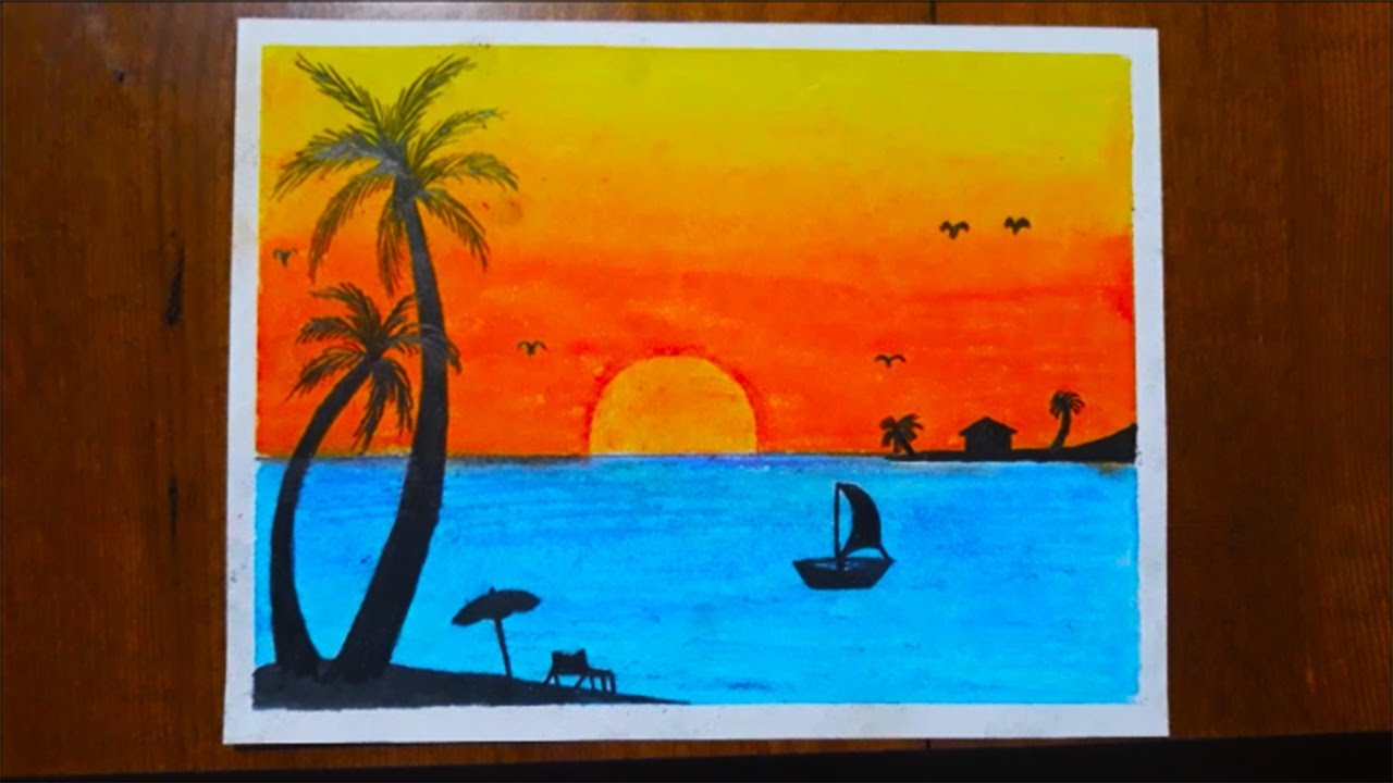 Pastel Boya Ile Tatil Resmi Cizimi How To Draw A Pastel Paint