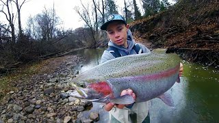 CLEAR CREEK Fishing for GIANT TROUT!--Fall Fishing