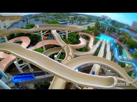 [4K] Mach 5 Water slide - 3 Water Slides POV - Wet n Wild Orlando water park