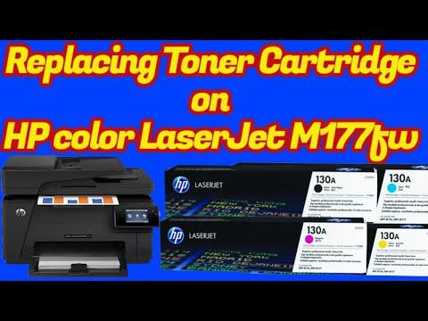 Replacing Toner Cartridge On Hp Color Laserjet Pro M177fw Youtube
