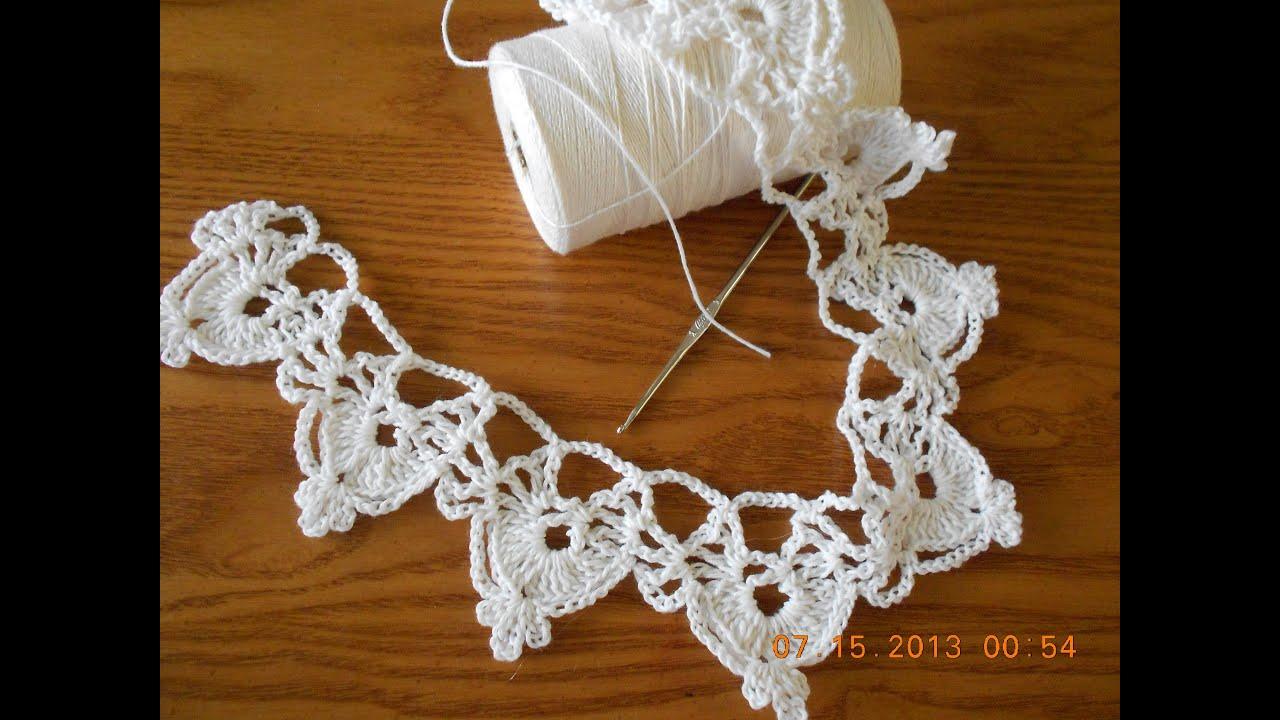 Orilla medias lunas tejido crochet - YouTube