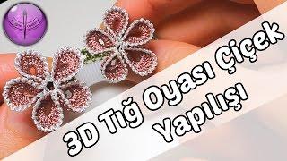 3D Tığ Oyası Çiçek Modeli Yapılışı HD Kalite