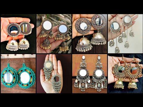 Exotic Antique Style Mirror Earrings    Stylish Silver Oxidised Mirror Jhumka Earning