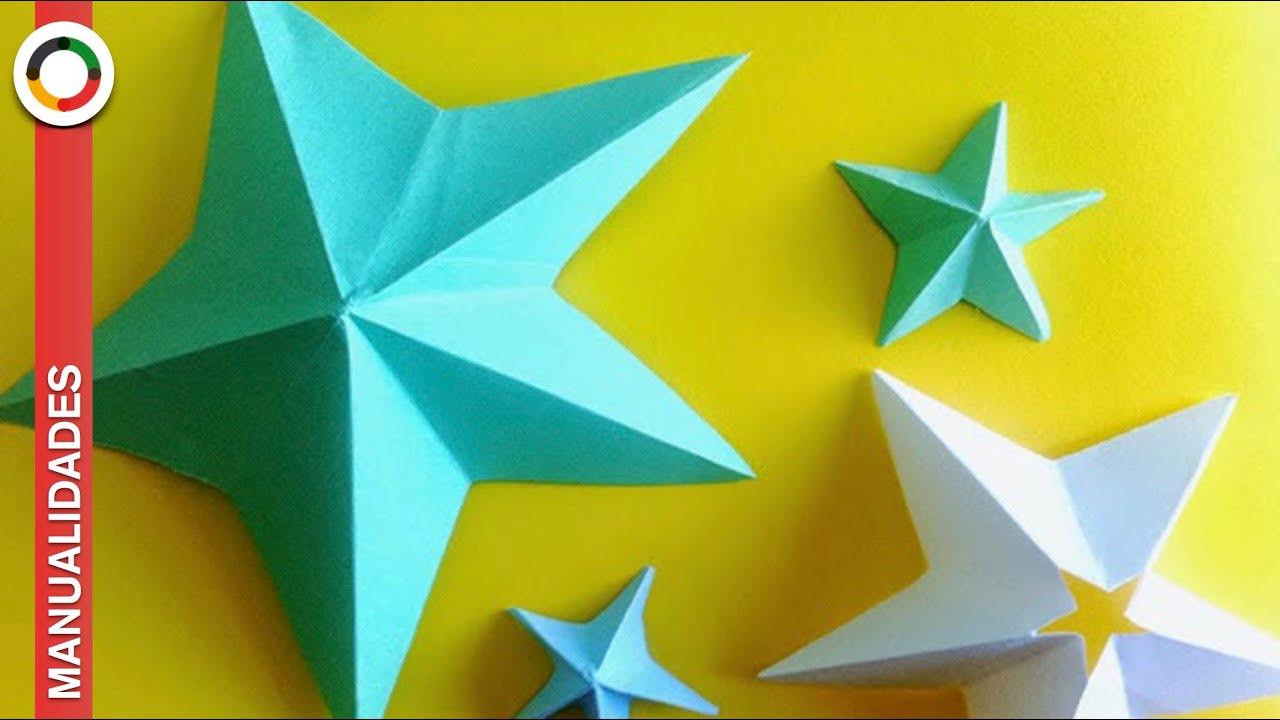 Como hacer estrellas de papel de 5 puntas youtube - Estrellas de papel para navidad ...