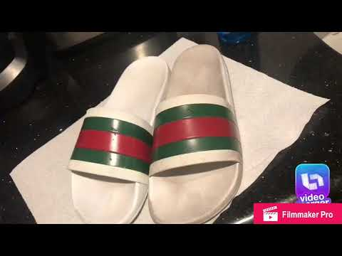 Cleaning my Gucci slides with dawn ultra