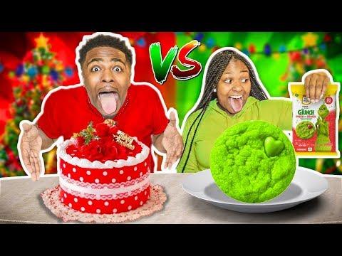 RED VS GREEN FOOD CHALLENGE | VLOGMAS DAY 4