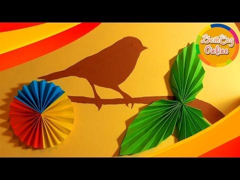 Оригами, цветы и листья из бумаги