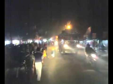 Krishnanagar city at winter night , Driving to Baharampur .
