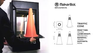 The MakerBot Z18 3D Printer Timelapse - Traffic Cone
