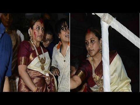 Rani Mukherjee paints red on last day of Durga Puja