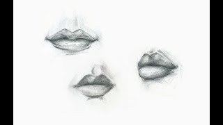 How to Draw Lips | Front, Side | Sketch On Paper