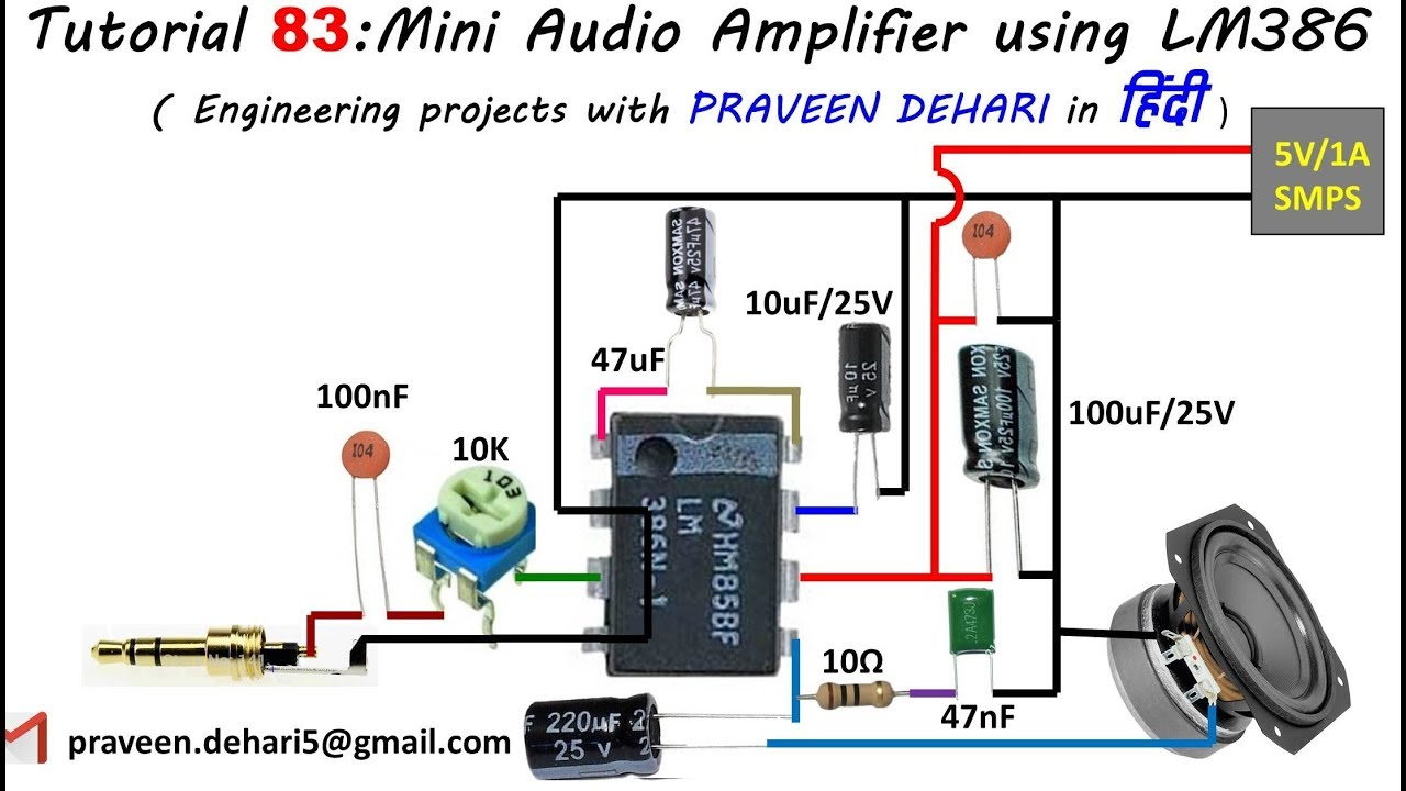 Mini Audio Amplifier Using Lm386 Tutorial84 In Youtube Simple Circuit