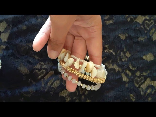 Pulseira bracelete espiral branca e dourada