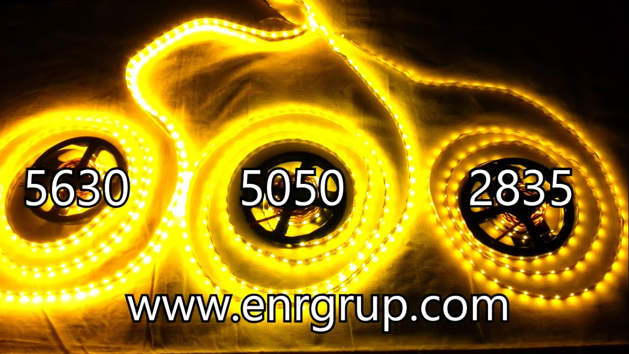 smd led strip 2835 vs 5050 vs 5630 - warm white - youtube