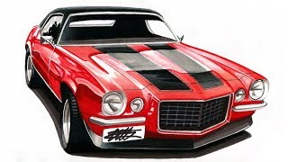 Realistic Car Drawing - 1970 Camaro Z28 - Time Lapse