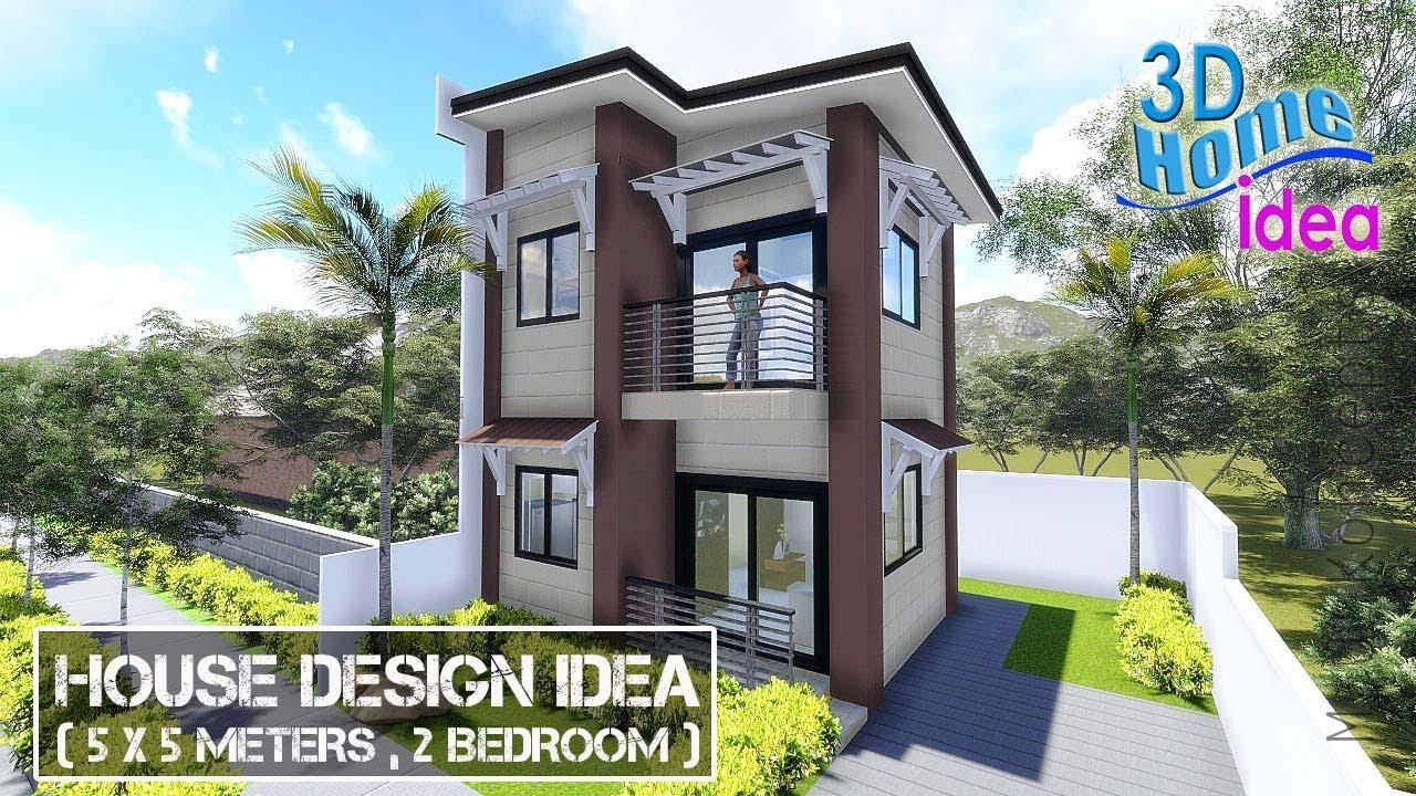 House Design Idea ( 5x5 meters, 2 Storey with 2 Bedroom)