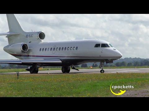 Dassault Falcon 7X SE-DJC - Windy/Very powerful take off - London Oxford Airport