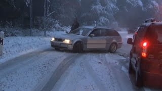 Raw: First Autumn Snow Snarls Traffic in Germany