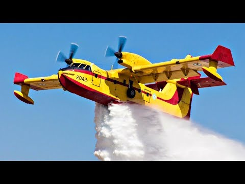 Canadair CL-415 Lowpass & WATER DROP | AFW Airshow | Hellenic Airforce Water Bomber Plane Spotting