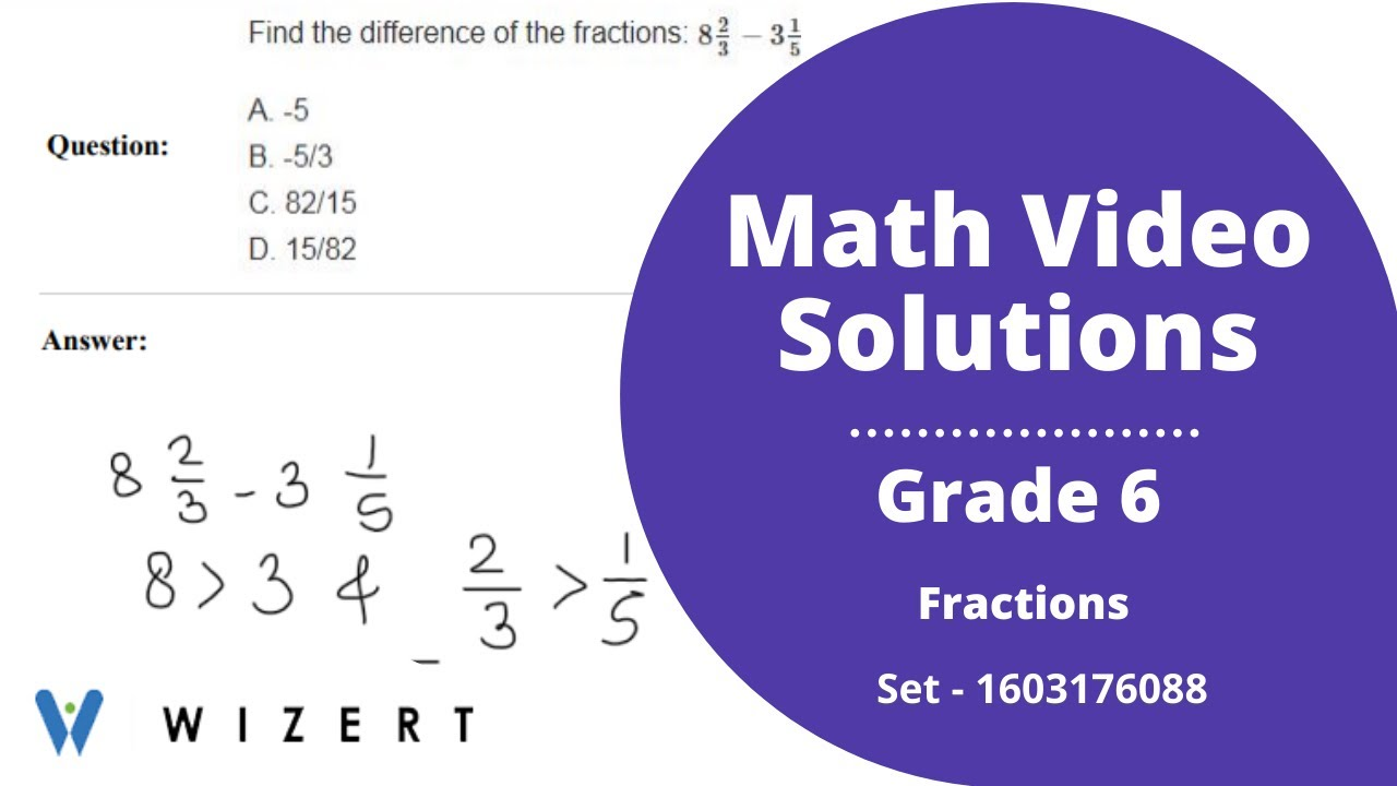 small resolution of vidGrade 6 Mathematics Worksheets - Fractions worksheet pdfs for Grade 6 -  Set 1603176088 - YouTube