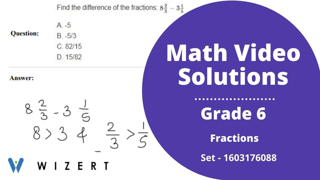 medium resolution of vidGrade 6 Mathematics Worksheets - Fractions worksheet pdfs for Grade 6 -  Set 1603176088 - YouTube