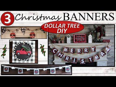 Dollar Tree DIY | RED TRUCK AND BUFFALO CHECK | Farmhouse Christmas 2019