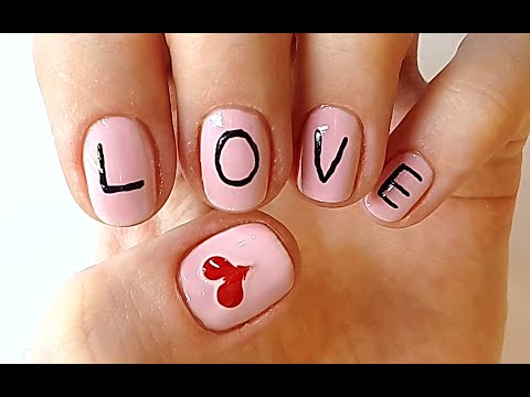 "love nails word ""love"" nail art  youtube"