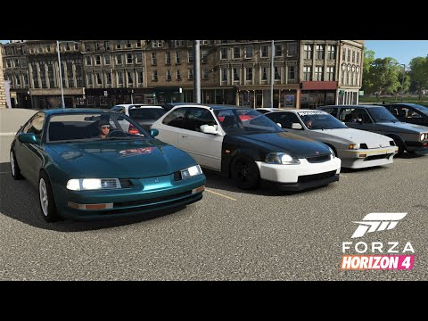 Forza Horizon 4 | 500HP Honda/FWD Car Meet - Cruise & HWY Runs w/ Prelude, EK9, CRX, RSX, & More thumbnail