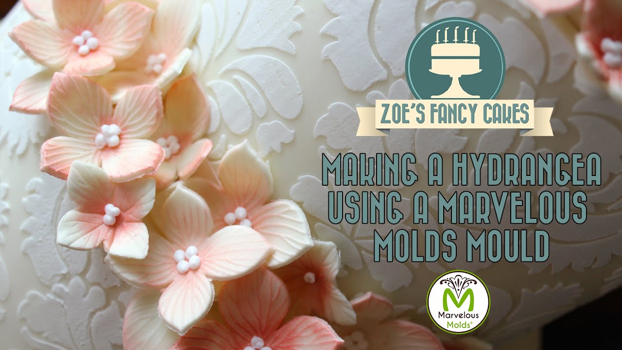 Making a hydrangea using a Marvelous Molds mould cake decorating ...