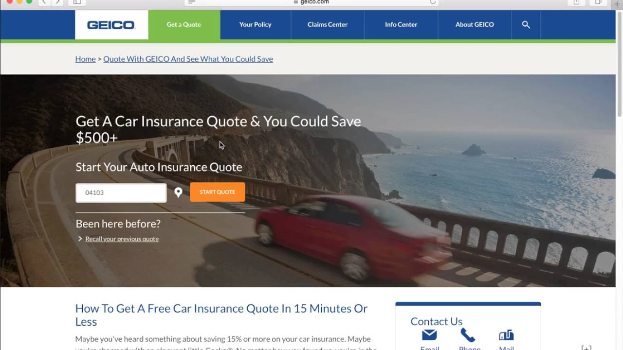 Get A Quote Geico How To Get A Free Geico Auto Insurance Quote  Youtube