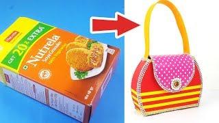 Best Out of Waste Bag Making - पुराने न्यूट्रिला के डिब्बे से बनायें सुंदर पर्स - DIY Bag Making