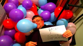 Ultimate BALLOON PRANK On My DAD!! (Funny)