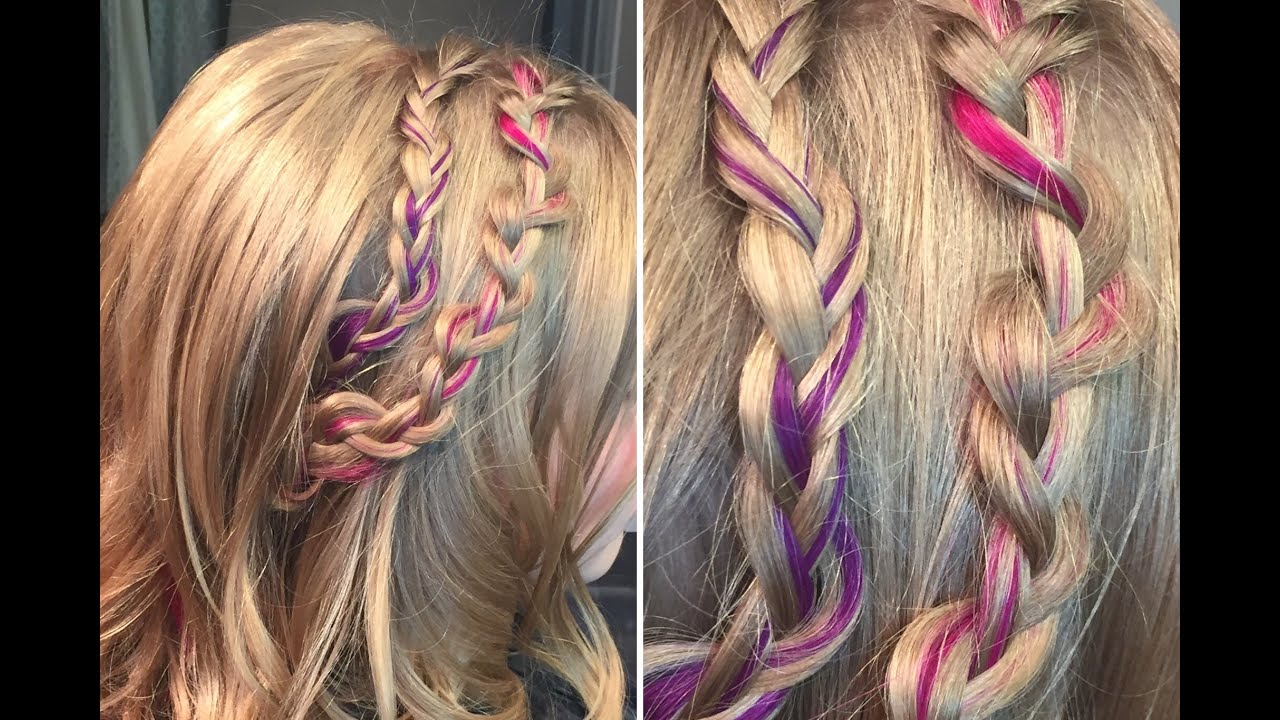 Half Up Hairstyle With Messy Braids And Colorful Clip Ins By Donna