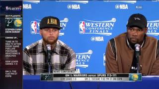 Curry Postgame - Kevin Durant Zaza DID NOT intentionaly HURT KAWI  Warriors vs Spurs Game 1 WCF