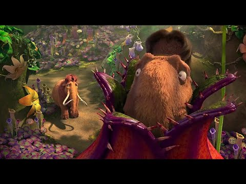Manfred And Diego Trapped In Butterwort - Ice Age 3 : Dawn Of The Dinosaurs | Hindi