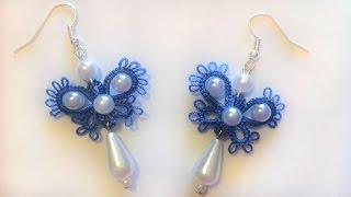 Серьги бабочки фриволите иглой Видео урок для начинающих. Анкарс Earrings butterfly frivolite needle
