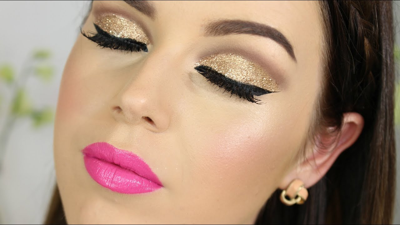 Gold Glitter Cut Crease U0026 Bright Pink Lips Tutorial - YouTube