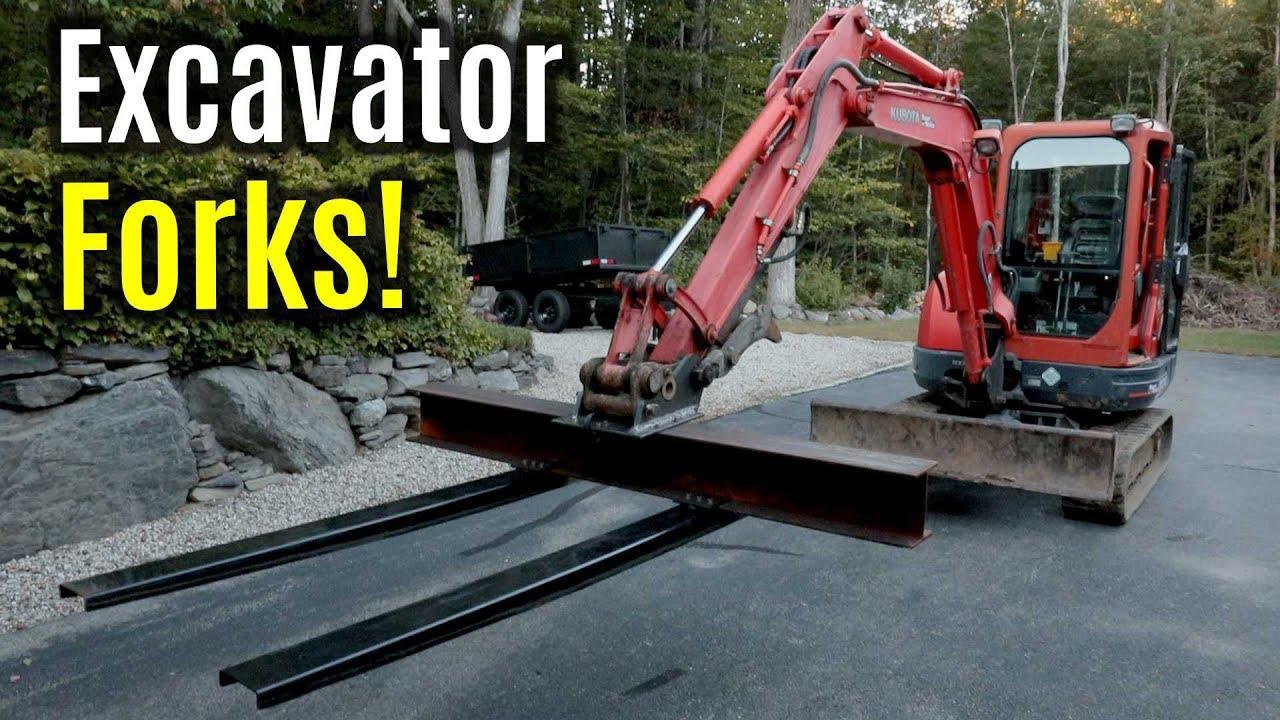 Kubota KX121-3 Excavator Custom Adjustable Pallet Forks | Quick Attach  Mounting Plate Fabrication
