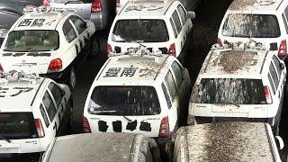 パトカーの墓場◆廃車置場 これが警察車両の末路だ!兵庫県警察廃車ヤード Scrapped Old Police Cars are covered with bird droppings thumbnail