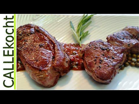 Steaks vom Reh braten und  zubereiten Omas Rezept auf Sauerkirschsoße