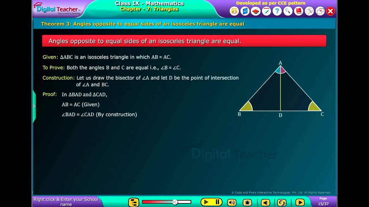 Digital Teacher Code and Pixels k12 Maths Theorem Angles opposite to ...