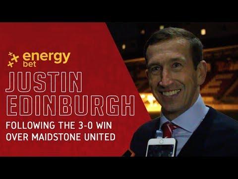 REACTION: Head Coach Justin Edinburgh following the 3-0 win over Maidstone United