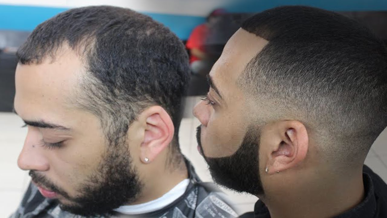 skin fade haircut with bigen dye