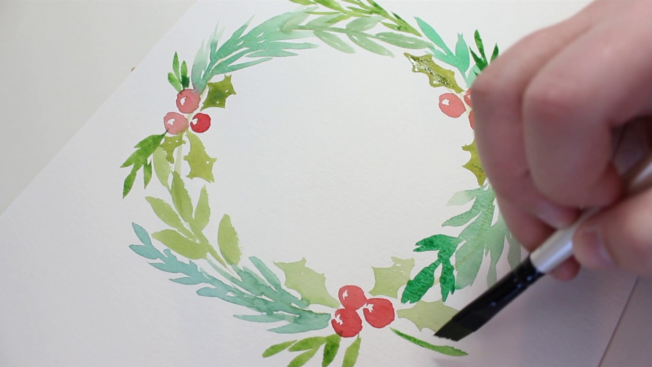 Loose Merry Christmas Wreath Watercolor Calligraphy